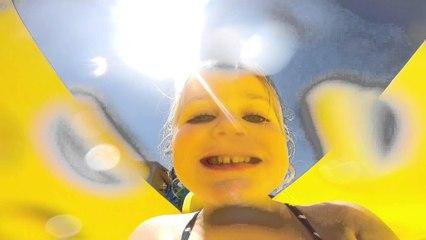 Mia taking the Go pro down Outback Splash slide