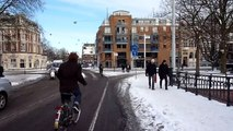 Amsterdam by bike - snow and mud - chaos!
