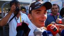 Romain Bardet réagit après sa victoire sur le Tour de France à Saint-Jean-de-Maurienne