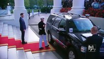 Burkina Faso president Blaise Compaoré   and spouse Chantal Compaoré arrive at the White House Diner