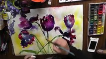 black tulips watercolour watercolor aquarelle demo mixed media