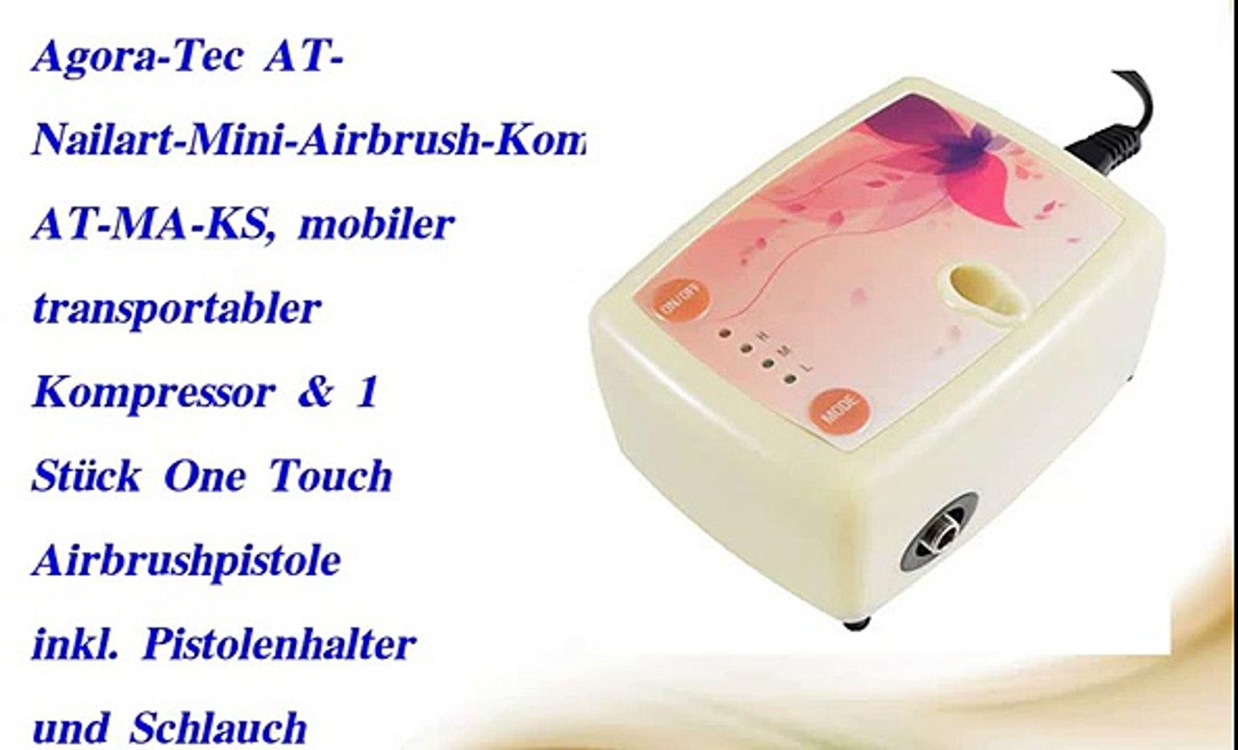 Agora-Tec/® AT Pistolenhalter und Schlauch mobiler transportabler Kompressor /& 1 St/ück One Touch Airbrushpistole inkl Nailart-Mini-Airbrush-Kompressor-Komplett-Set AT-MA-KS