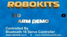 Robotic Arm 5 DOF, used 5 Servo Motors Controlled Wirelessly By USB-Bluetooth 16 Servo Controller
