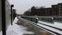 IRT Subway: Dyre Avenue Bound R142 (5) train at Morris Park (Snowy Aftermath)