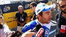 Thibaut Pinot (FDJ), vainqueur de la 20e étape, à l'arrivée à L'Alpe-d'Huez