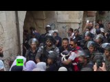 RAW: Palestinians scuffle with Israeli police in Jerusalem on Jewish holy day
