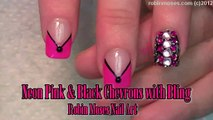 2 Nail Art Tutorials   DIY Chevron French Mani   Neon Pink & Black BLING Nails!