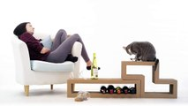 Katris is… a cat scratcher, a coffee table, a cat tree, a book shelf, it's your call!