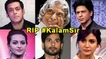 Bollywood Reacts To APJ Abdul Kalam's Demise | Salman Khan, Shahrukh Khan, Shahid Kapoor