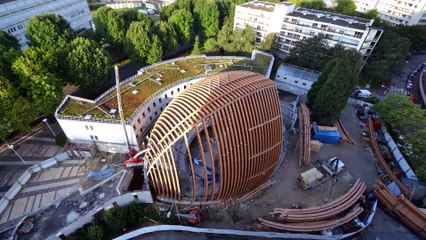 CréteilCathédrale+ - Time lapse du montage de la coque bois (rétrospective de 10 mois de chantier en 2 min 36 sec)