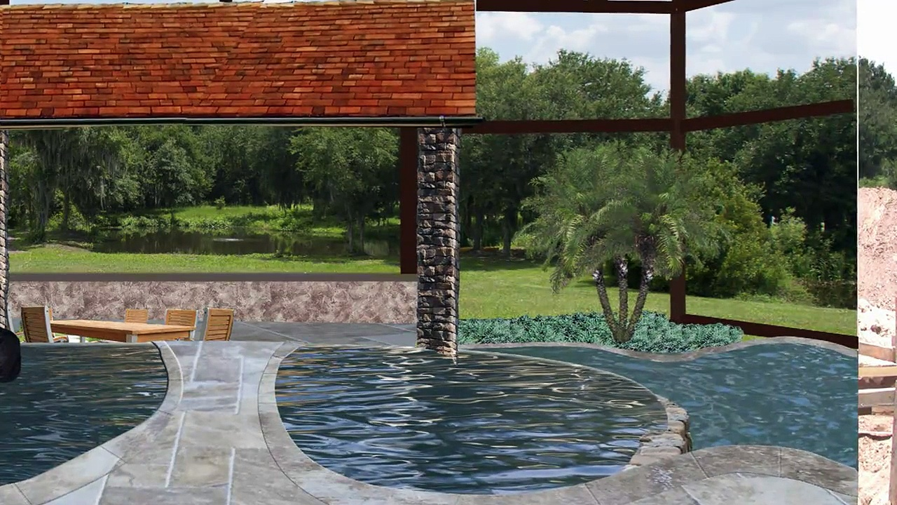 Pool Design: Start of a New Swimming Pool and Spa with a Negative Edge and Stone Grotto Waterfall