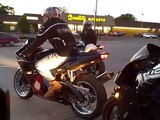 Crazy highway bike fun, wheelies, stunts, guy falls off