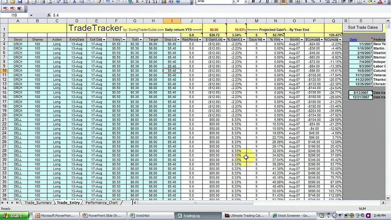 Trading Spreadsheet Tutorial – www.SwingTraderGuide.com
