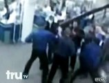 Russian security guards vs hooligans in russian supermarket