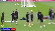 Cristiano Ronaldo Mocks James Rodriguez After a Pipe Marcelo ●Real Madrid CF Training● 2014