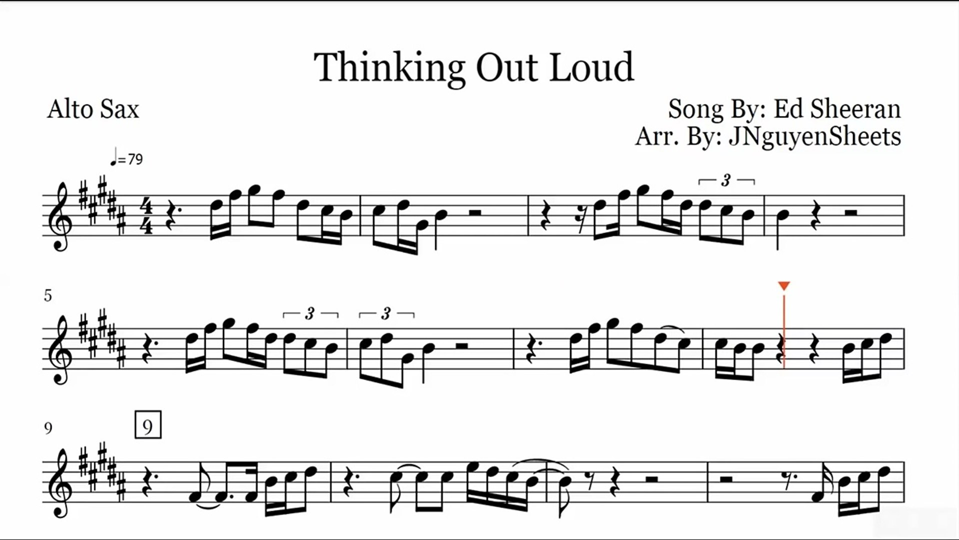 Thinking Out Loud Ed Sheeran Saxophone Sheet Music