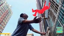 Man catches baby falling from eight-story building window caught on tape