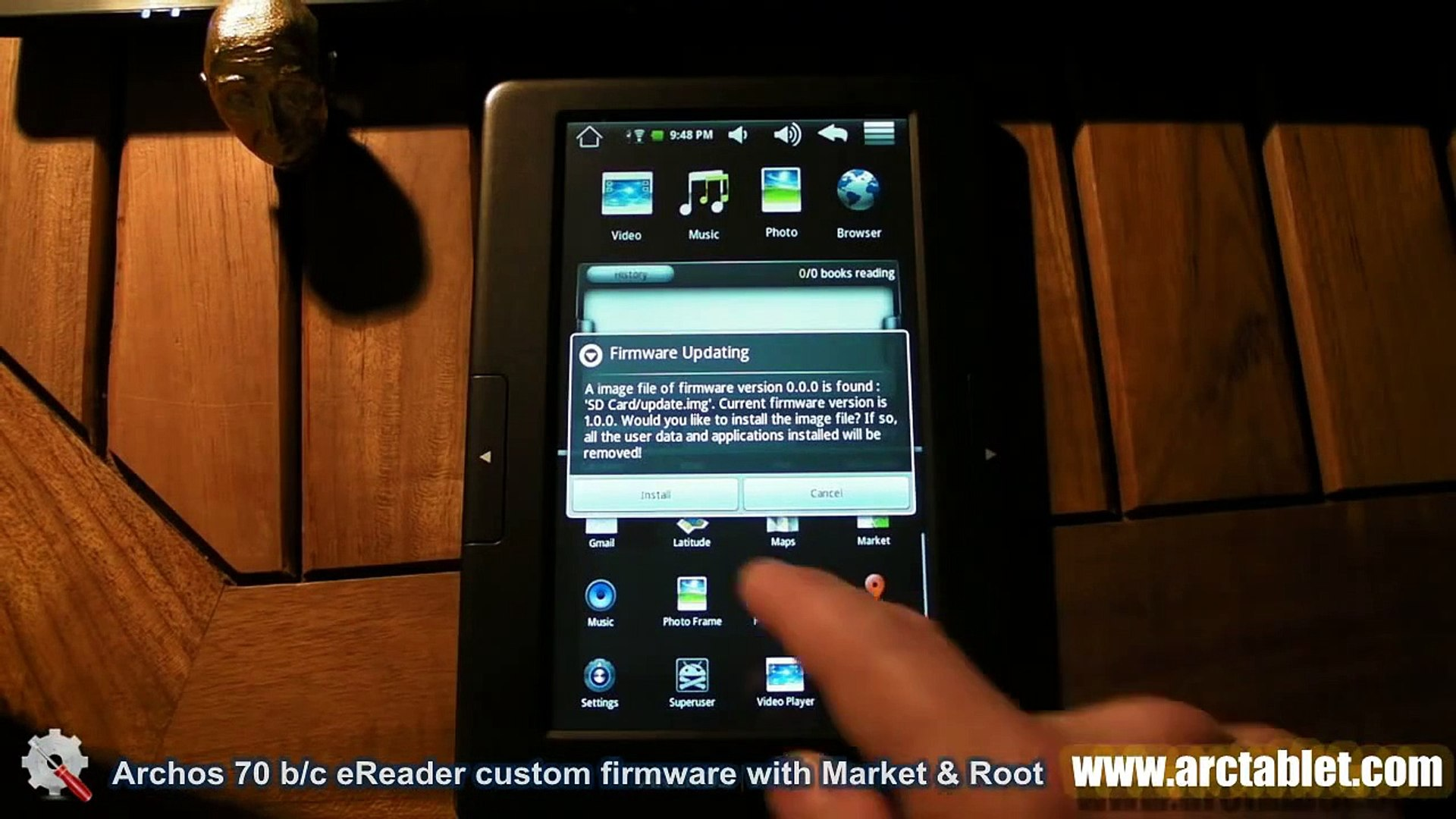 Archos 70b eReader custom firmware with Android Market and root
