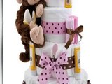 Get Diaper Cake - Pink Monkey Theme Handmade By Lil Baby Cakes - Gift For  Product images