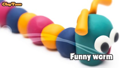Funny Worm - Polymer clay tutorial  دودة ظريفة - تشكيل صلصال للأطفال