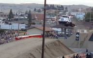 Incredible footage shows truck smoothly flying over 166 foot gap