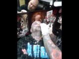 Warren Face Tattooed at Adventure tattoo studios II Keighley (tattooed face)