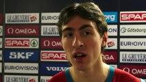 Hurdler Sergey Shubenkov gives a short reaction after the heats of the 60m hurdles
