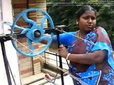 Banana fibre thread making in a simple device by rural women groups in india