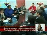 Jorge Arreaza y Lorenzo Mendoza de Polar a su salida de Miraflores tras reunión con Nicolás Maduro