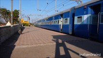 indiantrains@ 3 fast express trains of indian railways at lovely kamshet station,india