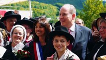Visite du prince Albert II et Charlène de Monaco dans le Cantal