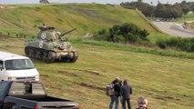 Restored WW2 M4 Sherman Tank Gun shoots