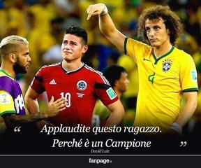 David Luiz consuela a James  ( Brasil Vs Mexico 2014 )
