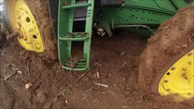FIAT 160-90 tows out John Deere 7430 from bog