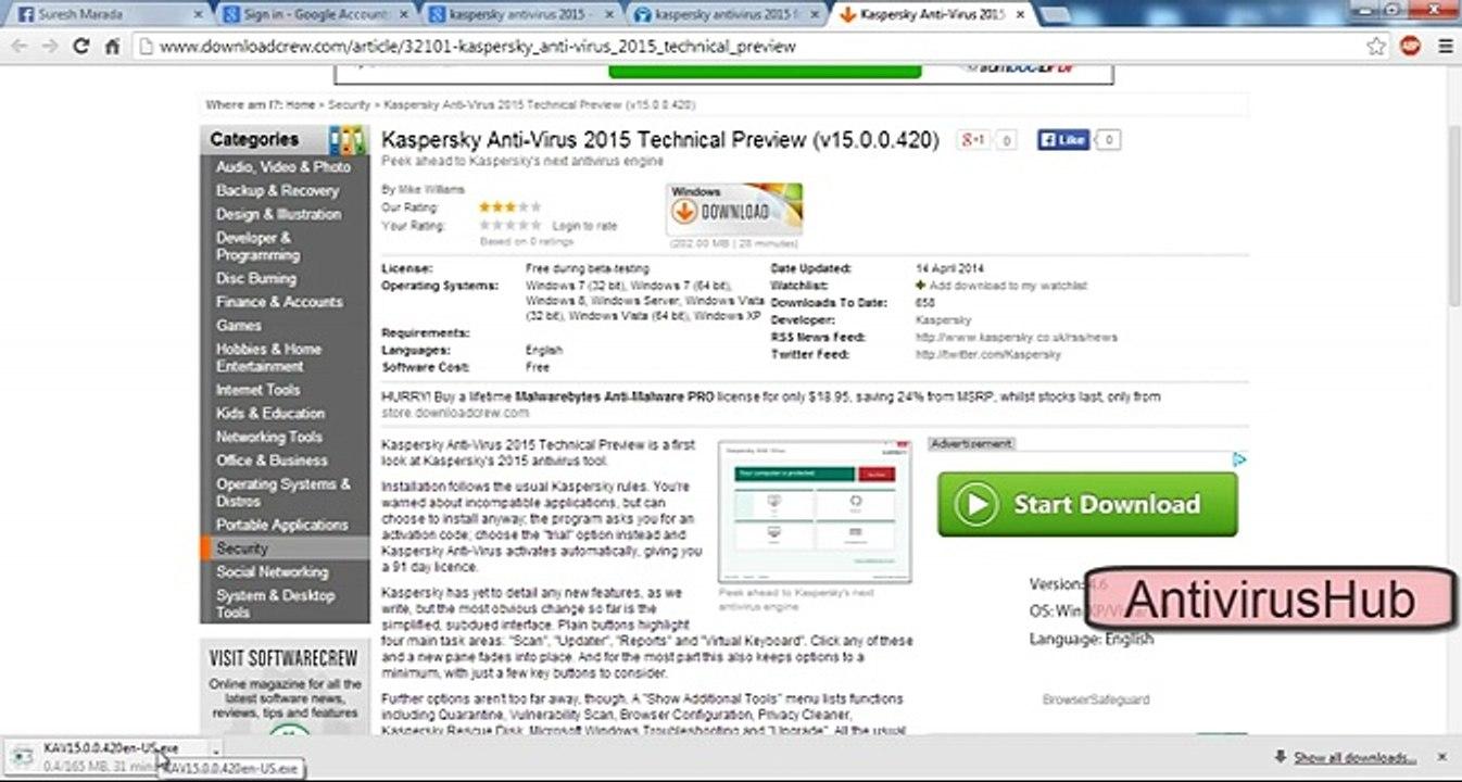 Kaspersky Antivirus 2015 Serial Key Activation