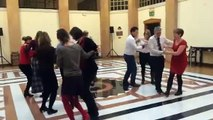 Scottish country dancing lesson at the British Embassy to celebrate Burns Night
