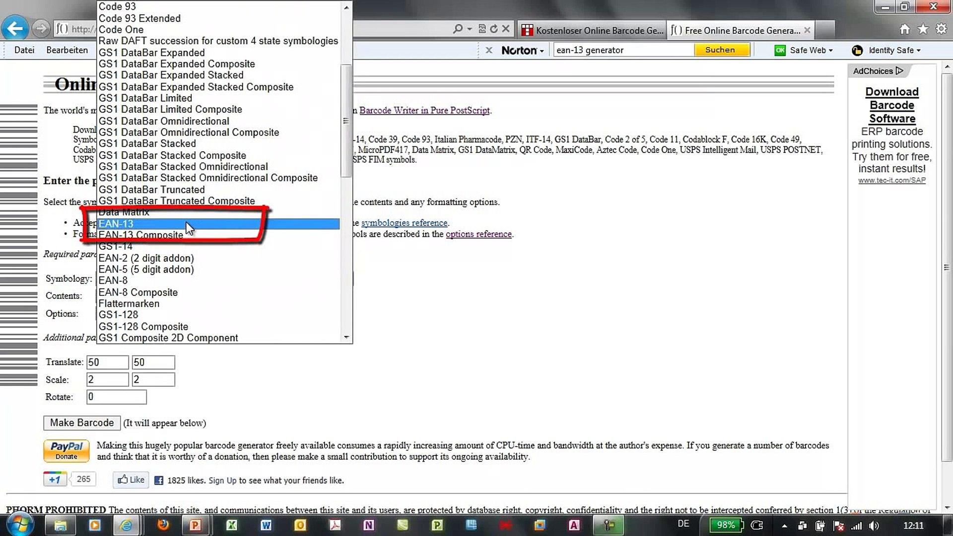 QR-Codes und Barcodes online erzeugen (EAN-13, PZN, ISBN,    )