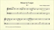 Mozart, Minuet in F major, K 2, Piano