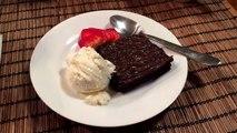 Boom. Warm dark chocolate brownie, vanilla ice cream, and strawberry.... #2 dessert, lol