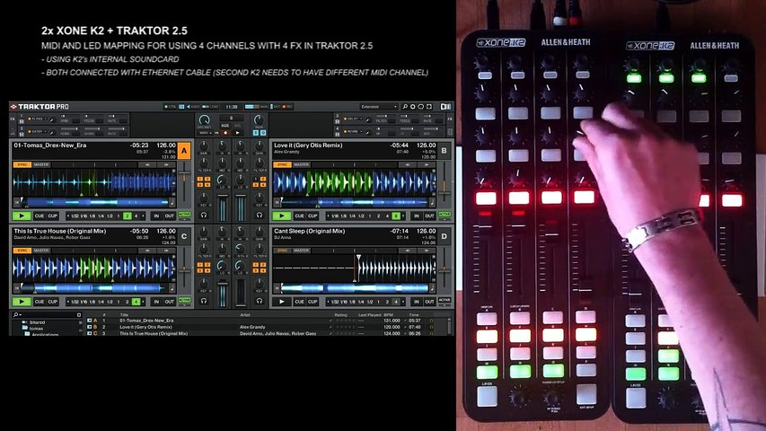 2x Allen & Heath XONE K2 MIDI and LED mapping for using 4 channels with 4  FX in Traktor 2 5