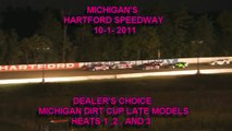 HARTFORD MOTOR SPEEDWAY U.M.P. LATE MODEL HEATS  MICHIGAN DIRT CUP -DEALER'S CHOICE 10-1-11.wmv