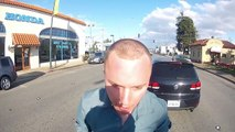 Crazy Guy hits motorcyclist Road Rage