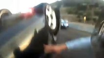 Biker Saves Girl From Overturned Car - Motorcycle Rider Help Rescue A Girl After An Accident