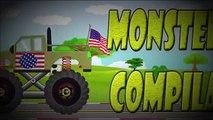 Monster Trucks for Children   Green Monster Truck with American Flag   Monster Truck Compilation