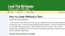 Tips On Sleeping Outdoors Without A Tent
