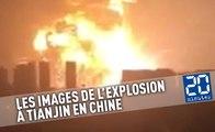Les images de l'énorme explosion à Tianjin en Chine