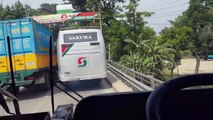 Thrilling Bus Driving in Bangladesh. Sakura vs Sakura Paribahan (AC)- On a move. Engine: Hino AK 1J+