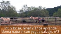 Inti y Brisa, 2º sesión: niña de 12 años aprende doma natural con yegua salvaje, control movimiento