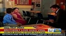 Boy Asks Santa To Make Kids Stop Bullying His Twin Sister GMA Sing With Big Time Rush INSPIRATIONAL