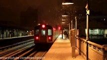 IRT Subway: Double Snowy R142 (2) trains at Simpson Street @ Night